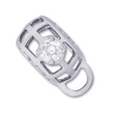 14K White Gold Caged Stone CharmDrop 04 April by Rembrandt Charms