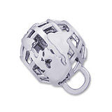 14K White Gold Globe CharmDrop by Rembrandt Charms