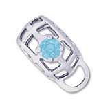 14K White Gold Caged Stone CharmDrop 03 Mar by Rembrandt Charms