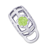 14K White Gold Caged Stone CharmDrop 09 Aug by Rembrandt Charms