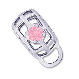 14K White Gold Caged Stone CharmDrop 10 Oct by Rembrandt Charms