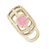 14K Gold Caged Stone CharmDrop 10 Oct by Rembrandt Charms