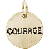 Gold Plate Courage Charm Tag by Rembrandt Charms