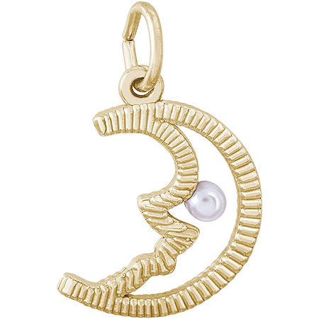 14K Gold Half Moon with Pearl Charm by Rembrandt Charms