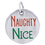 Sterling Silver Naughty Nice Charm Tag by Rembrandt Charms