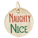 14K Gold Naughty Nice Charm Tag by Rembrandt Charms