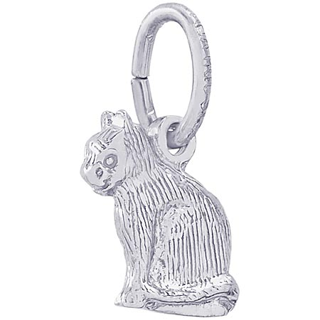 14k White Gold Sitting Cat Accent Charm by Rembrandt Charms