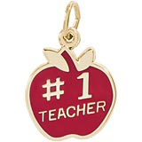 Gold Plate Number One Teachers Apple Charm by Rembrandt Charms