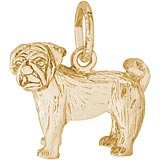 Gold Plated Pug Dog Charm by Rembrandt Charms