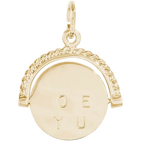 Gold Plate I Love You Spinner Charm by Rembrandt Charms