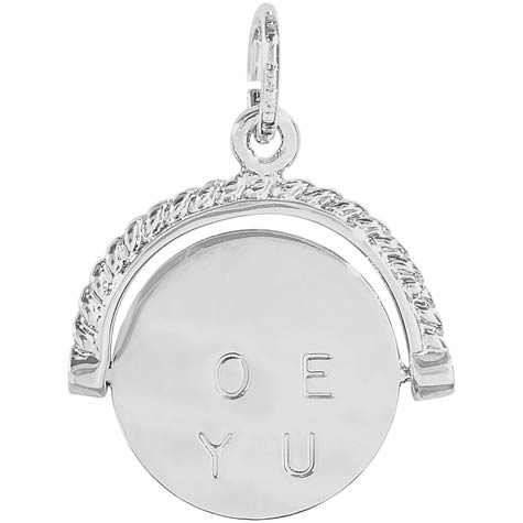 Sterling Silver I Love You Spinner Charm by Rembrandt Charms