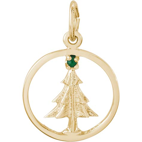 Gold Plate Christmas Tree Circle Charm by Rembrandt Charms