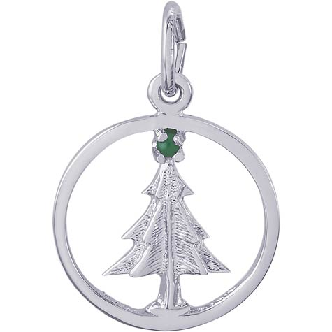 14K White Gold Christmas Tree Circle Charm by Rembrandt Charms