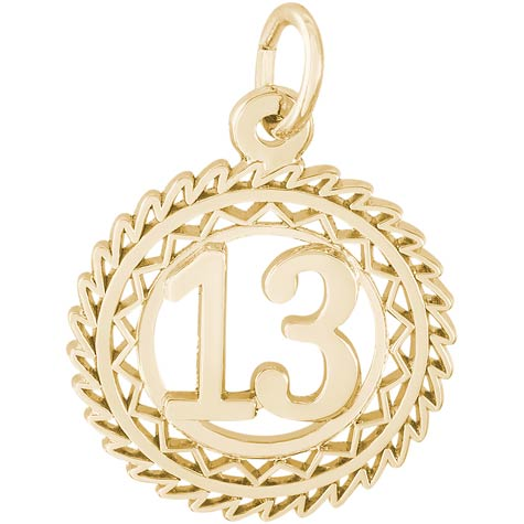 14K Gold Number 13 Charm by Rembrandt Charms