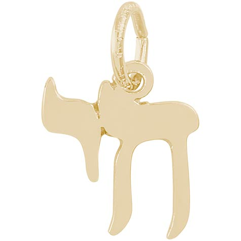Gold Plate Small Chai Charm by Rembrandt Charms