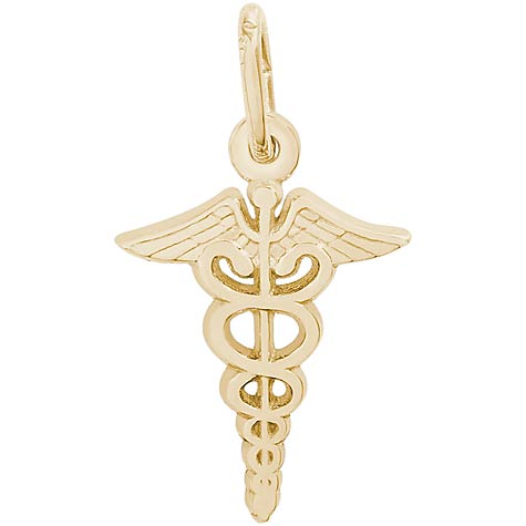 10K Gold Small Caduceus Charm by Rembrandt Charms