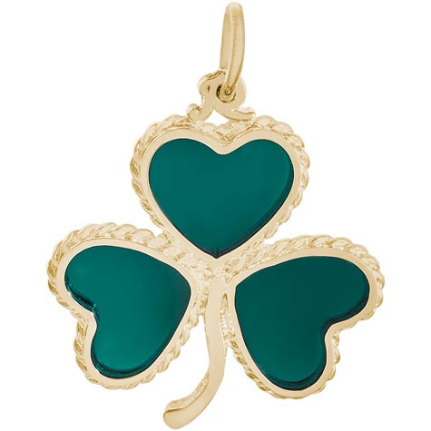 10K Gold Green Shamrock Charm by Rembrandt Charms