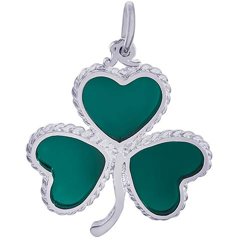 14K White Gold Green Shamrock Charm by Rembrandt Charms