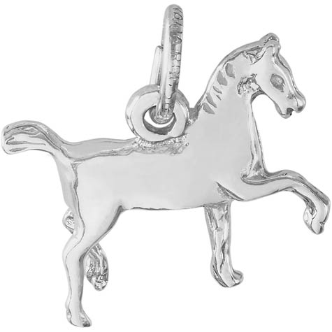 14K White Gold Extended Trot Horse Charm by Rembrandt Charms