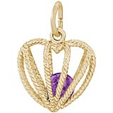 14K Gold Embrace Love Charm 02 February by Rembrandt Charms