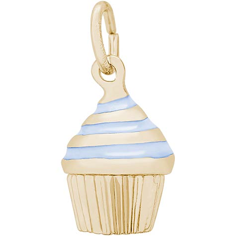 14k Gold Blue Swirl Cupcake Charm by Rembrandt Charms