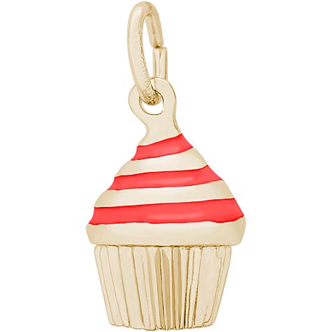 14k Gold Red Swirl Cupcake Charm by Rembrandt Charms