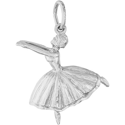 14K White Gold Ballet Dancer with Skirt Charm by Rembrandt Charms
