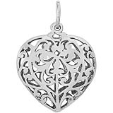 Sterling Silver Filigree Heart Charm by Rembrandt Charms