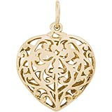 10K Gold Filigree Heart Charm by Rembrandt Charms