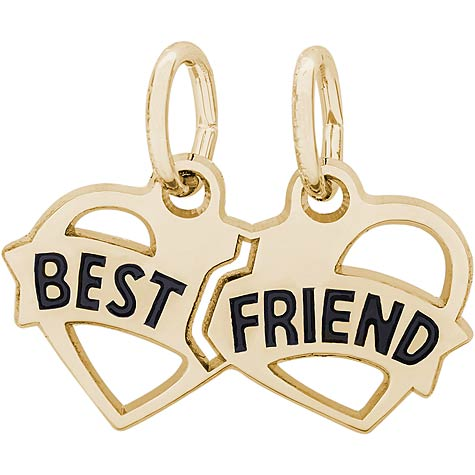 14k Gold Best Friends Heart Charm by Rembrandt Charms