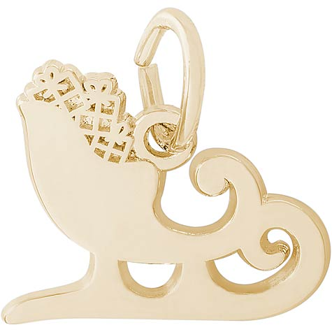 14K Gold Santa's Sleigh Charm by Rembrandt Charms