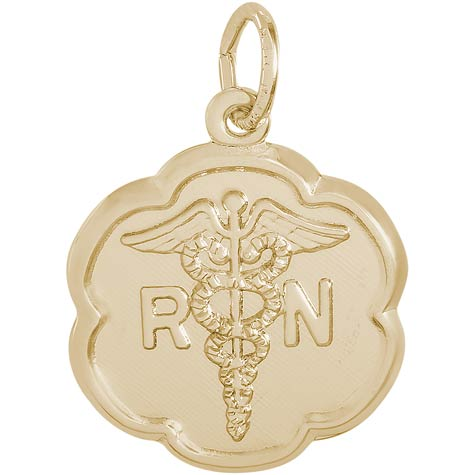 Gold Plate RN Caduceus Scalloped Charm by Rembrandt Charms