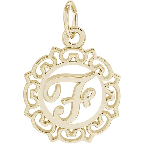 10K Gold Ornate Script Initial F Charm by Rembrandt Charms