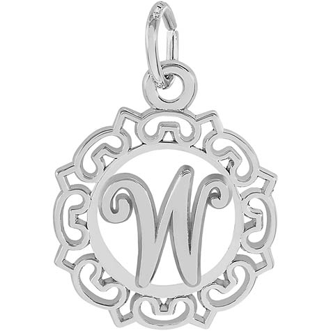 Sterling Silver Ornate Script Initial W Charm by Rembrandt Charms