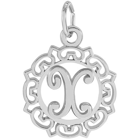 14K White Gold Ornate Script Initial X Charm by Rembrandt Charms
