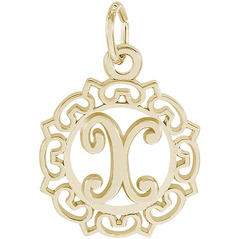 14K Gold Ornate Script Initial X Charm by Rembrandt Charms