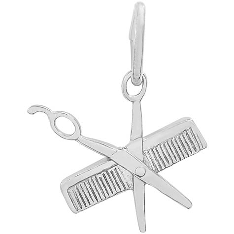 14K White Gold Small Comb and Scissors Charm by Rembrandt Charms