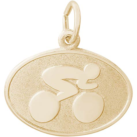 14K Gold Cyclist Oval Disc Charm by Rembrandt Charms