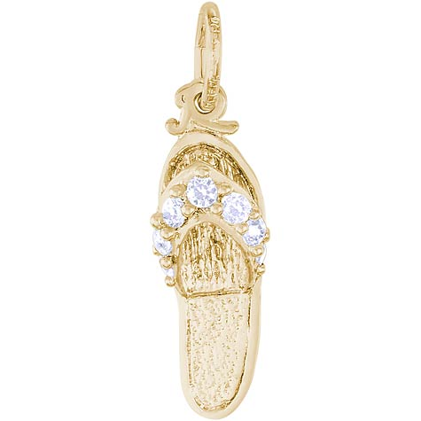 14k Gold Sandal Charm April Birthstone by Rembrandt Charms