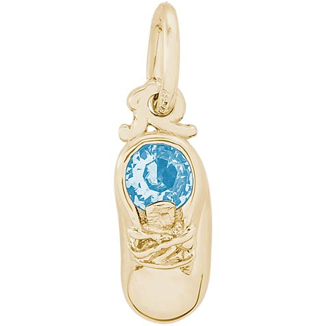 10k Gold 03 Mar Baby Shoe Accent Charm by Rembrandt Charms