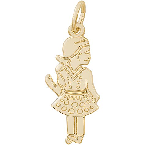 10k Gold Waving Girl Charm by Rembrandt Charms