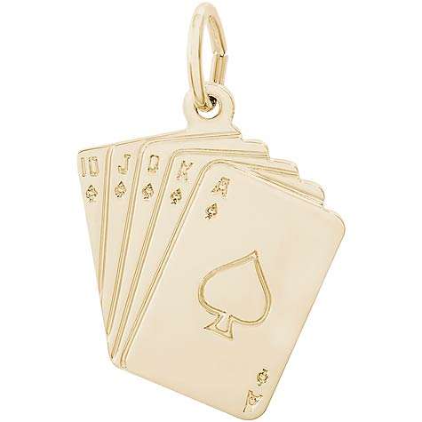 14K Gold Royal Flush Charm by Rembrandt Charms