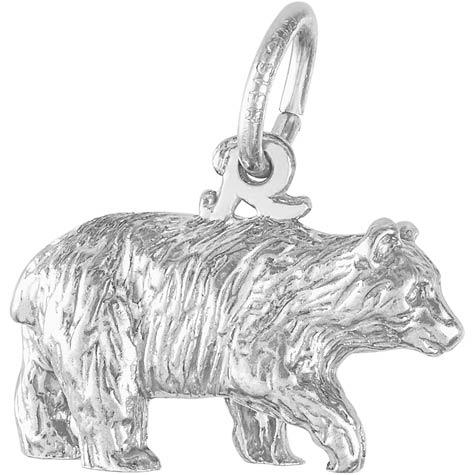 14K White Gold Black Bear Charm by Rembrandt Charms