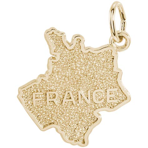 14K Gold France Map Charm by Rembrandt Charms