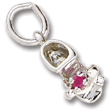 Sterling Silver Birth Month 01 Jan Bootie Accent by Rembrandt Charms
