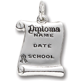 Sterling Silver Graduation Diploma Charm by Rembrandt Charms