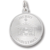 14K White Gold Merry Christmas Charm by Rembrandt Charms