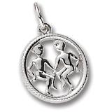 14k White Gold Gemini Zodiac Charm by Rembrandt Charms