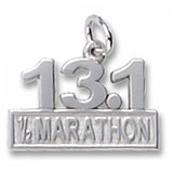 14k White Gold 13.1 Marathon Charm by Rembrandt Charms
