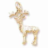 Gold Plate Reindeer Charm by Rembrandt Charms